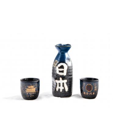 Set sake negru-cristalin Kuro Suisho