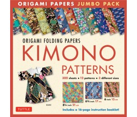 ORIGAMI PAPER JUMBO PACK: KIMONO PATTERNS 21, 17, 15 cm 300 SHEETS